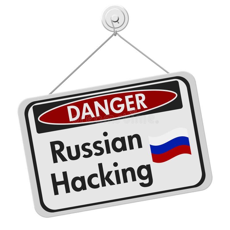 Signe entaillant russe de danger illustration stock