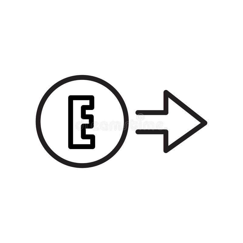 Signe est et symbole de vecteur d'icône d'isolement sur le fond blanc, E illustration stock
