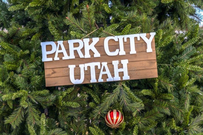 Signe et babiole de Park City Utah sur l'arbre de Noël photo libre de droits