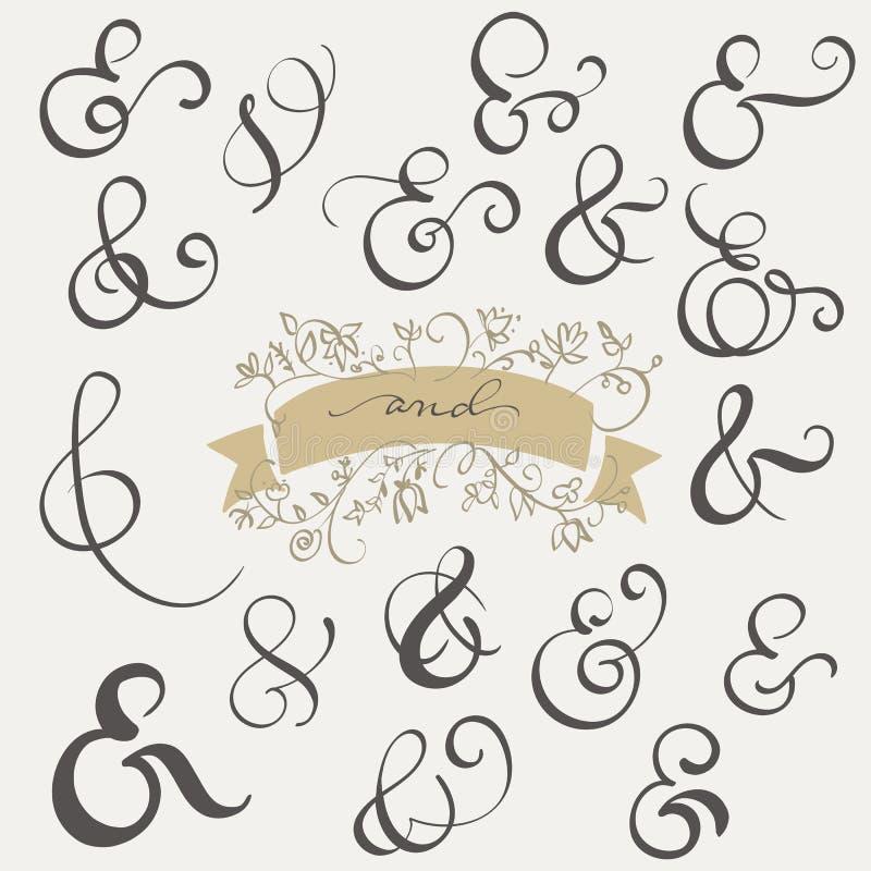 Signe et esperluète réglés de vintage de vecteur sur le fond blanc Illustration EPS10 de lettrage de calligraphie illustration libre de droits