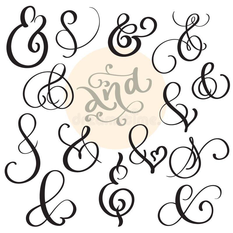 Signe et esperluète réglés de vintage de vecteur sur le fond blanc Illustration EPS10 de lettrage de calligraphie illustration stock