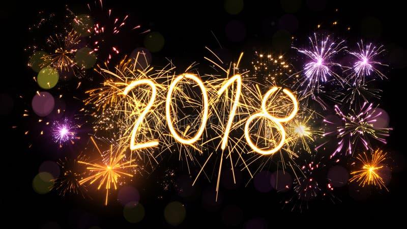 Signe 2018 et feux d'artifice de cierge magique de nouvelle année illustration libre de droits