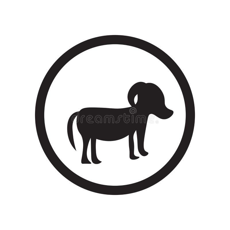 Signe et symbole de marche de vecteur d'icône de signe de chien d'isolement sur le fond blanc, concept de marche de logo de signe illustration libre de droits