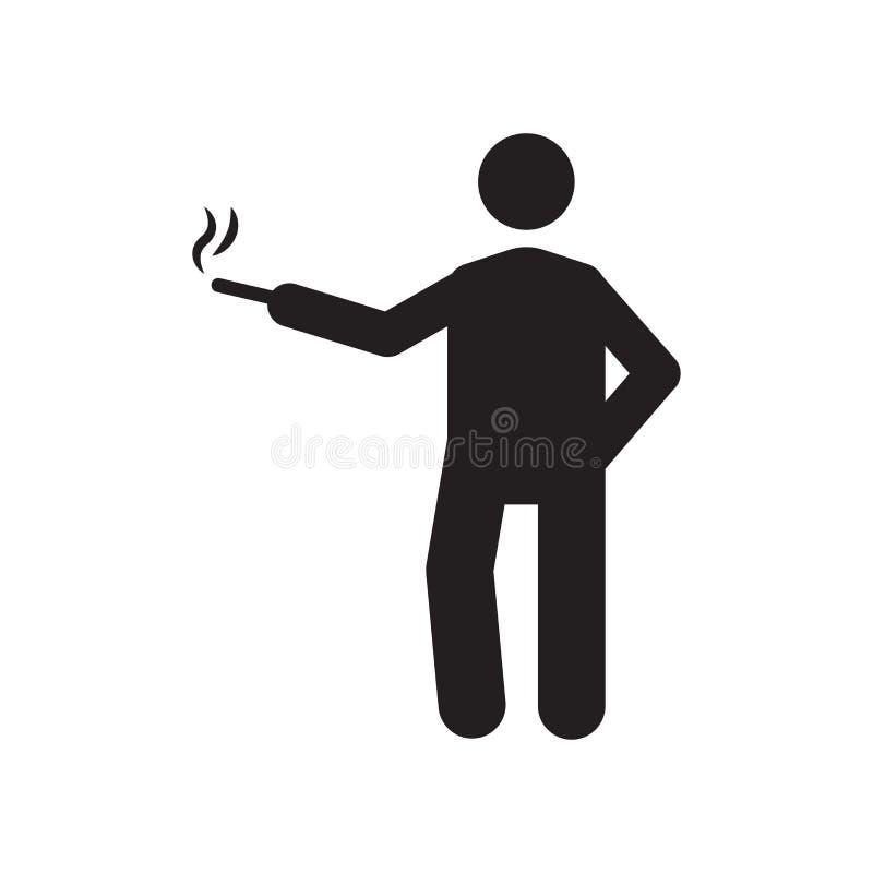 Signe et symbole de tabagisme de vecteur d'icône d'isolement sur le fond blanc, icône de tabagisme de concept de logo illustration de vecteur