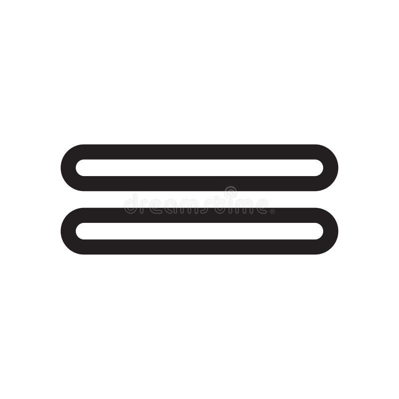 Signe et symbole de vecteur d'icône de signe d'égalité d'isolement sur le fond blanc, concept de logo de signe d'égalité illustration de vecteur