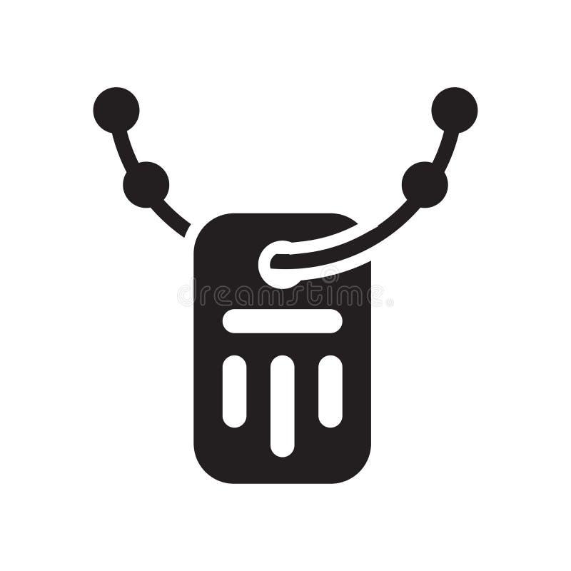 Signe et symbole de vecteur d'icône d'étiquette de chien d'armée d'isolement sur le backg blanc illustration stock