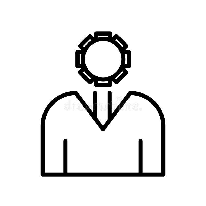 Signe et symbole de vecteur d'icône d'administrateur d'isolement sur le dos de blanc illustration stock