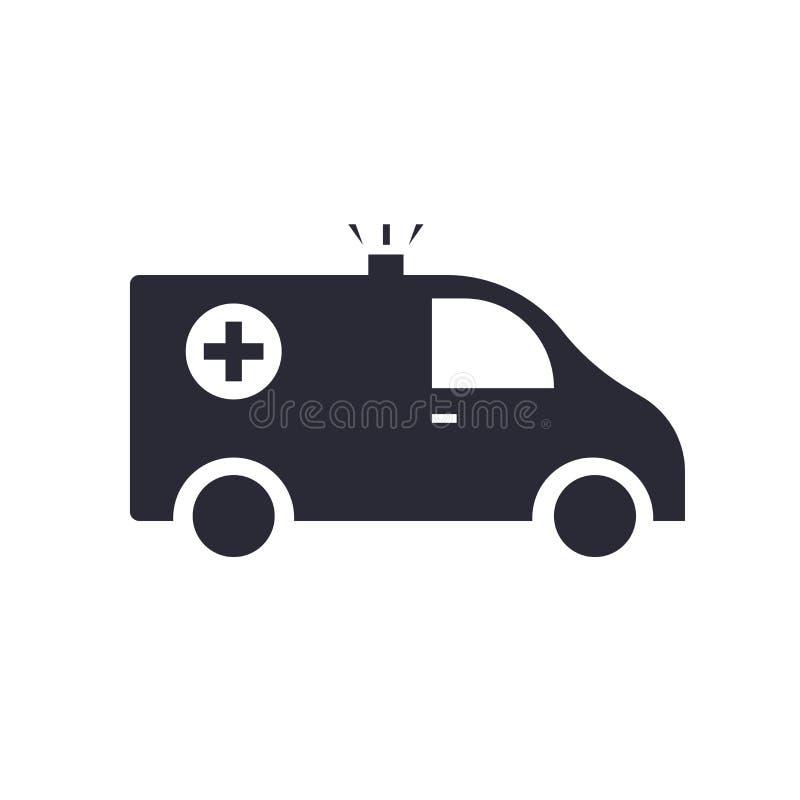 Signe et symbole de vecteur d'icône d'alerte d'ambulance d'isolement sur le fond blanc, concept de logo d'alerte d'ambulance illustration libre de droits