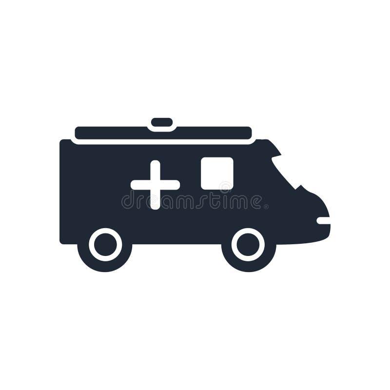 Signe et symbole de vecteur d'icône d'ambulance d'isolement sur le backgrou blanc illustration de vecteur