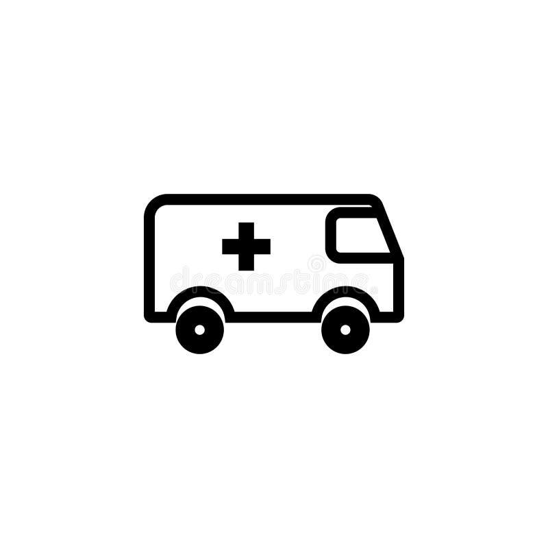 Signe et symbole de vecteur d'icône d'ambulance d'isolement sur le fond blanc, concept de logo d'ambulance illustration de vecteur
