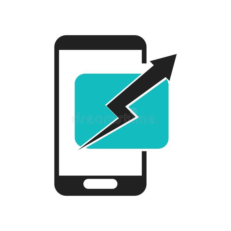 Signe et symbole de vecteur d'icône d'Analitycs de téléphone portable d'isolement sur le fond blanc, concept de logo d'Analitycs  illustration de vecteur