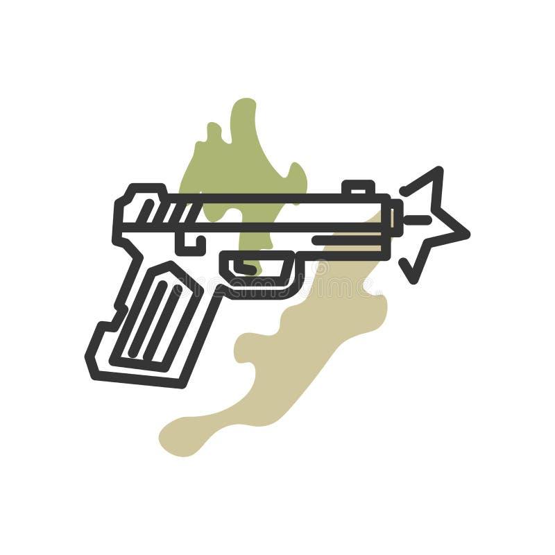 Signe et symbole de vecteur d'icône d'arme à feu d'isolement sur le fond blanc, concept de logo d'arme à feu illustration de vecteur