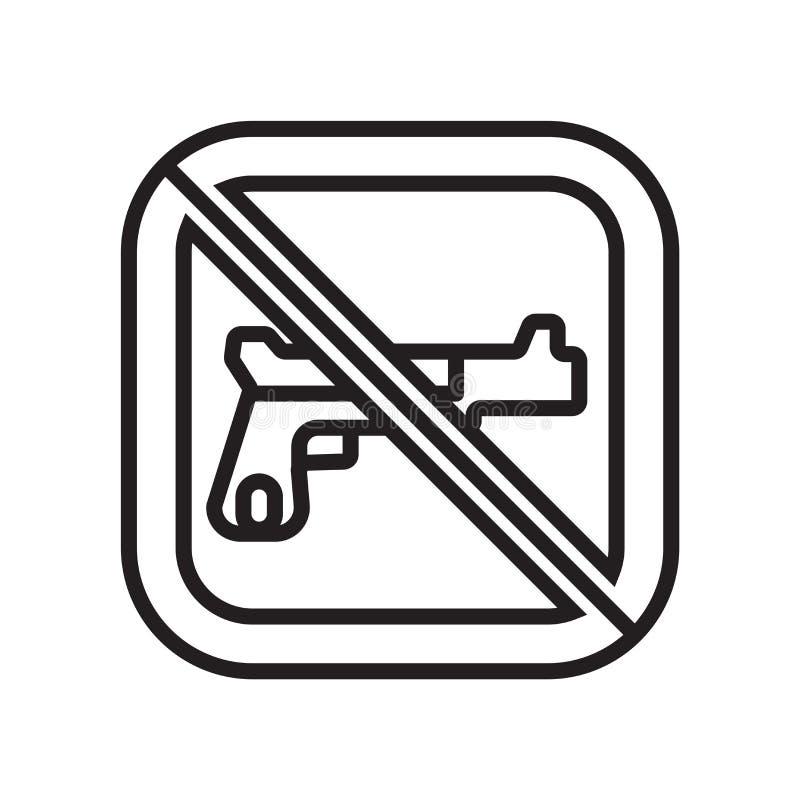 Signe et symbole de vecteur d'icône d'armes à feu d'isolement sur le fond blanc, concept de logo d'armes à feu illustration stock