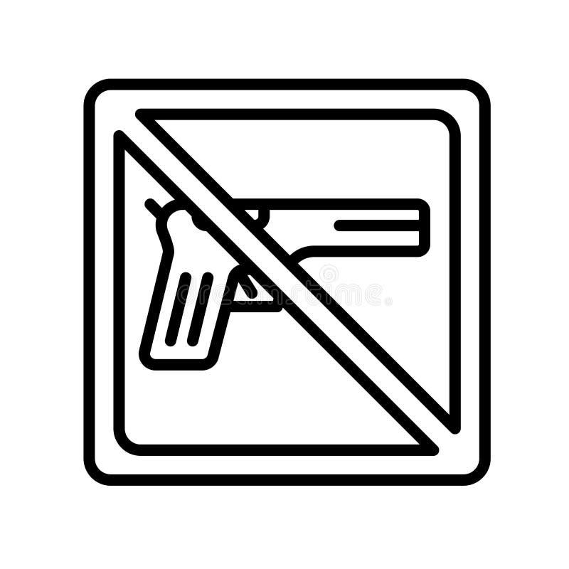 Signe et symbole de vecteur d'icône d'armes à feu d'isolement sur le fond blanc, G illustration de vecteur