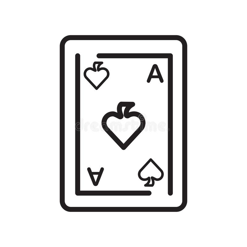 Signe et symbole de vecteur d'icône d'as de pique d'isolement sur le dos de blanc illustration stock