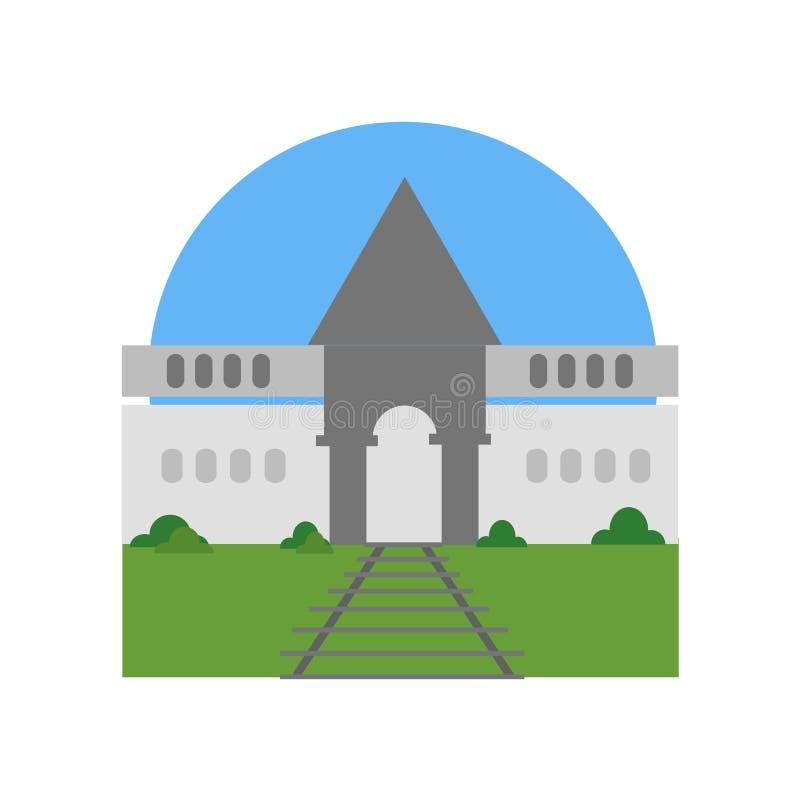 Signe et symbole de vecteur d'icône d'Auschwitz d'isolement sur le backgrou blanc illustration stock