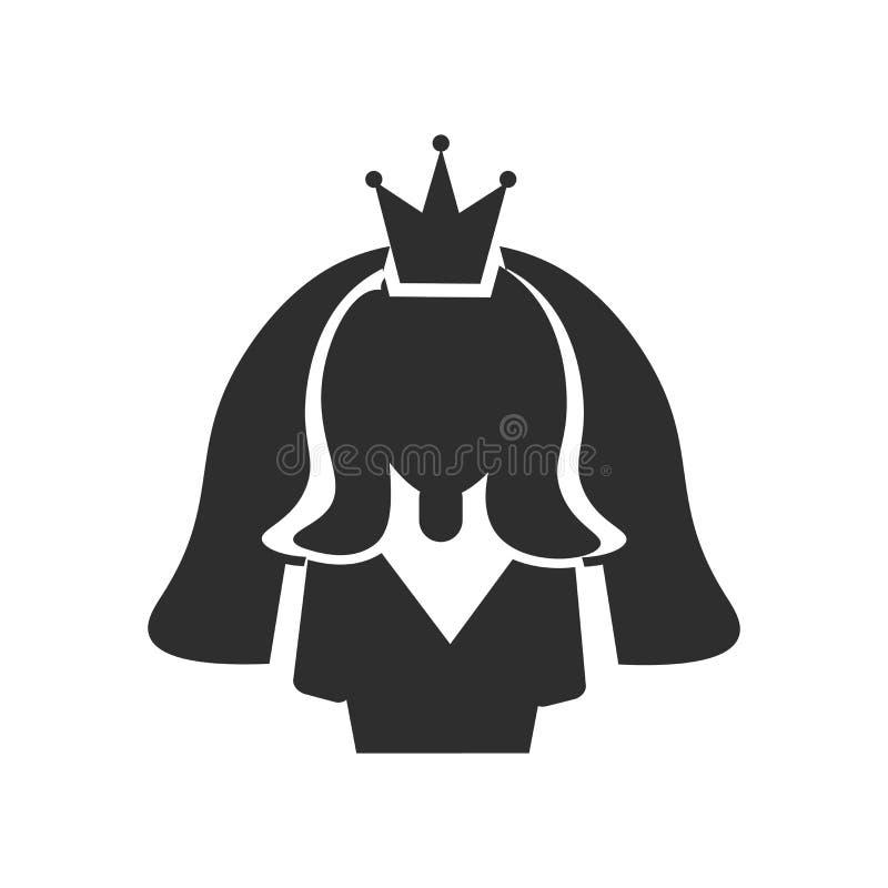 Signe et symbole de vecteur d'icône d'avatar de jeune mariée d'isolement sur le fond blanc, concept de logo d'avatar de jeune mar illustration de vecteur