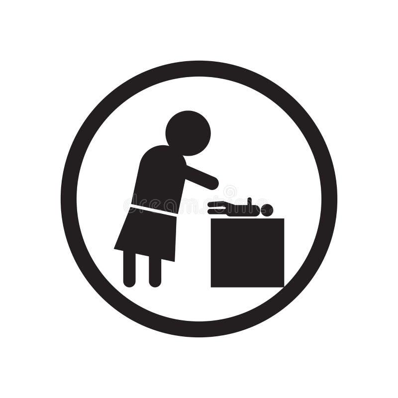 Signe et symbole de vecteur d'icône de babysitter et d'enfant d'isolement sur le concept blanc de fond, de logo de babysitter et  illustration stock