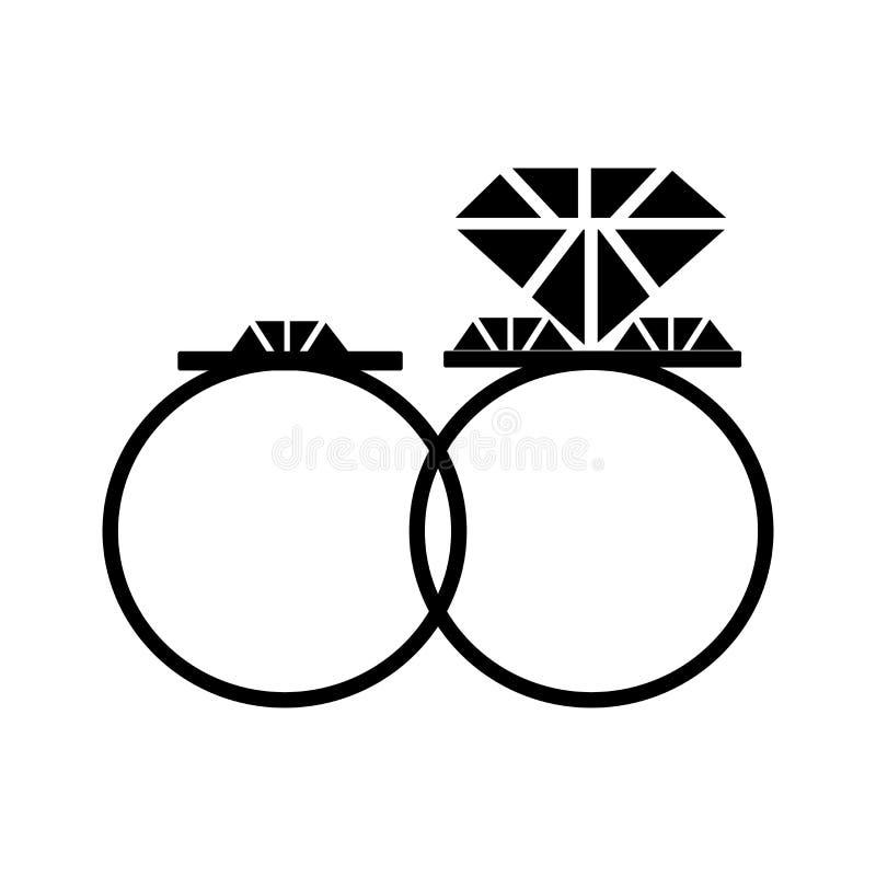Signe et symbole de vecteur d'icône de bague de fiançailles d'isolement sur le fond blanc, concept de logo de bague de fiançaille illustration stock