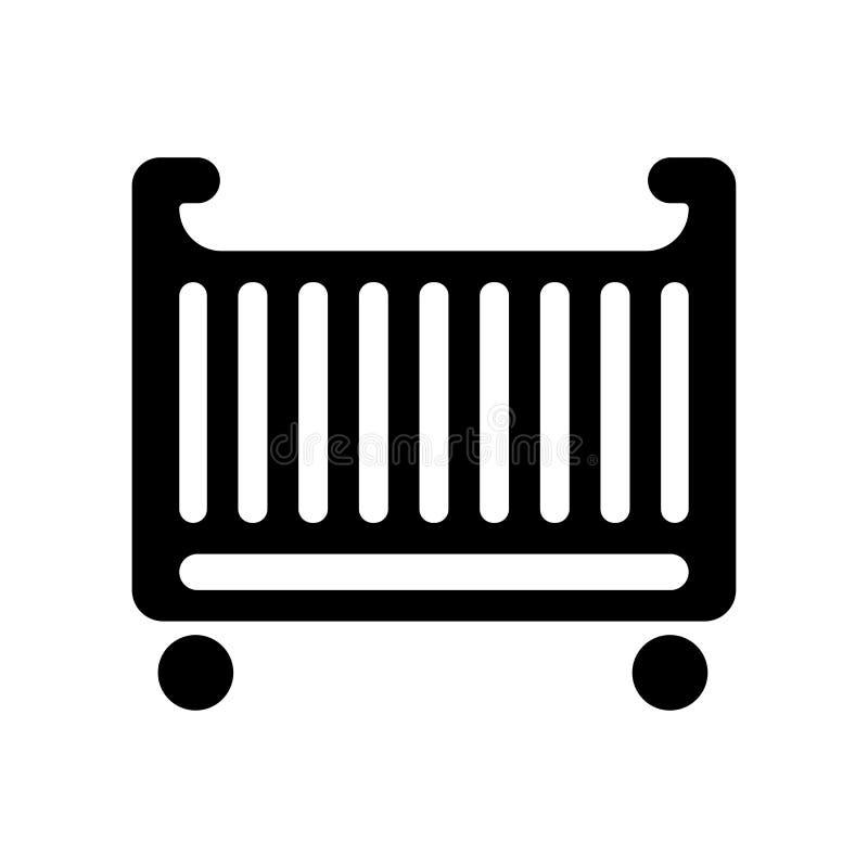 Signe et symbole de vecteur d'icône de berceau de bébé d'isolement sur le backgroun blanc illustration de vecteur