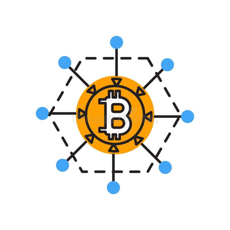 Signe et symbole de vecteur d'icône de Blockchain d'isolement sur le fond blanc, concept de logo de Blockchain illustration stock