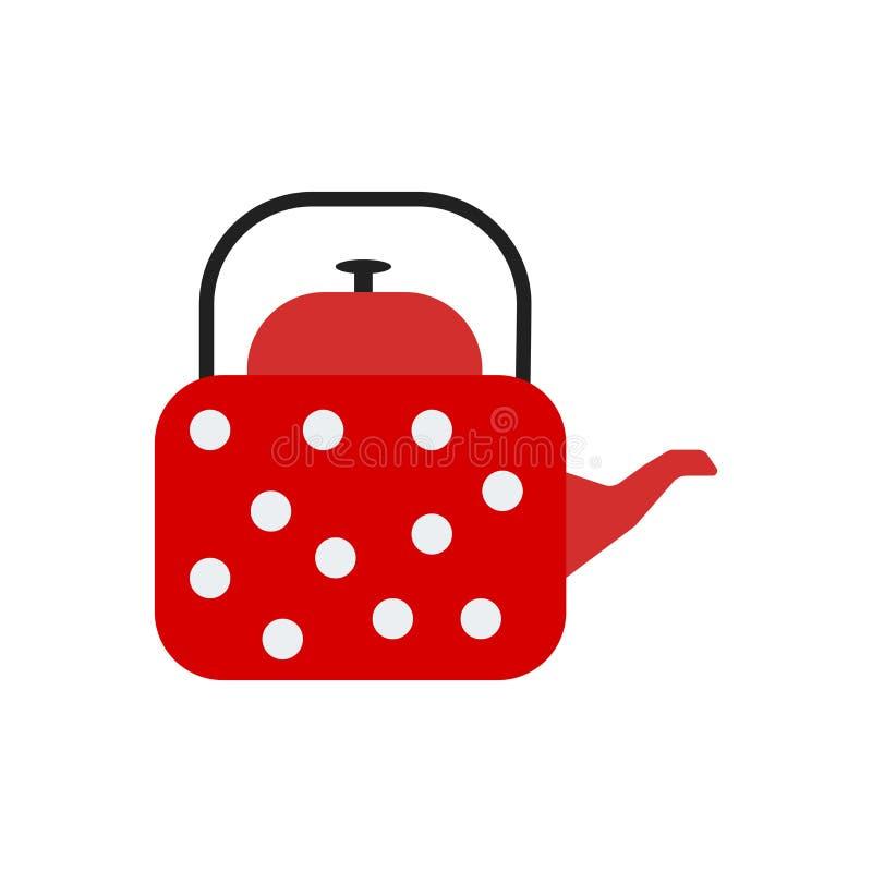 Signe et symbole de vecteur d'icône de bouilloire d'isolement sur le fond blanc, concept de logo de bouilloire illustration stock