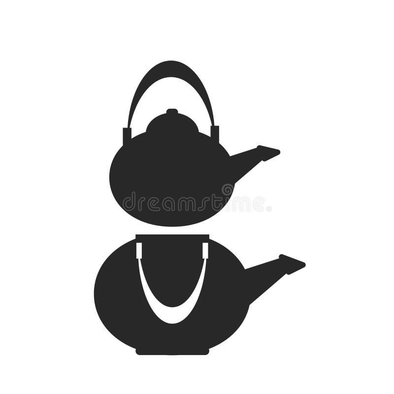Signe et symbole de vecteur d'icône de bouilloire d'isolement sur le fond blanc, concept de logo de bouilloire illustration de vecteur
