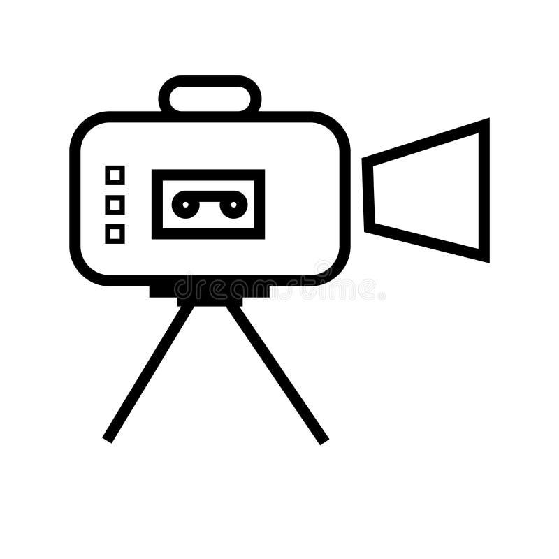 Signe et symbole de vecteur d'icône de caméra vidéo d'isolement sur le fond blanc, concept de logo de caméra vidéo illustration de vecteur