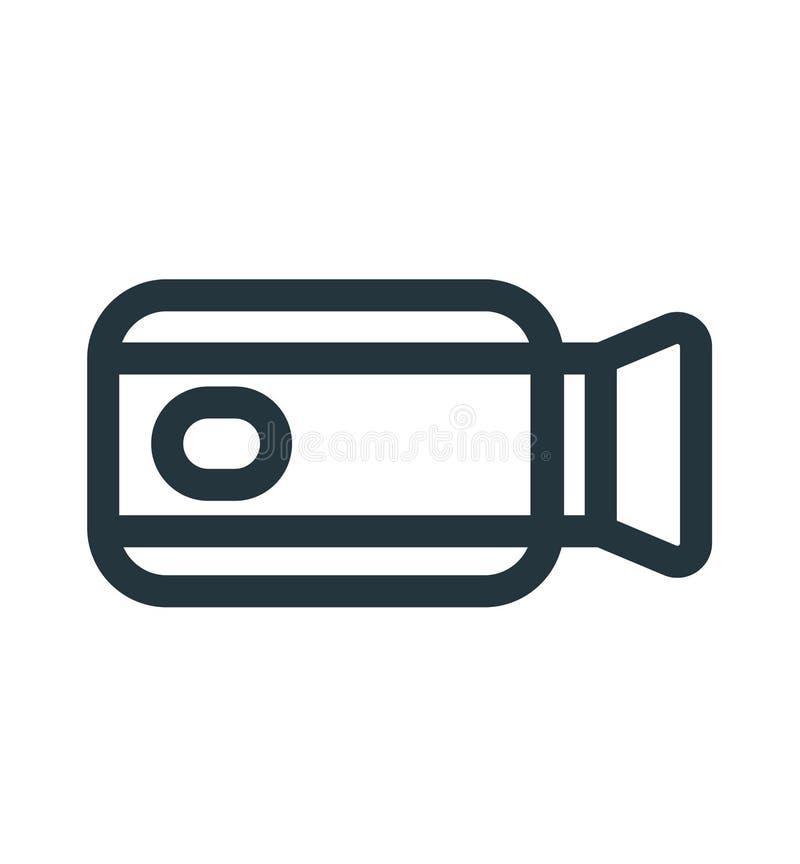 Signe et symbole de vecteur d'icône de caméra vidéo d'isolement sur le fond blanc, concept de logo de caméra vidéo illustration libre de droits
