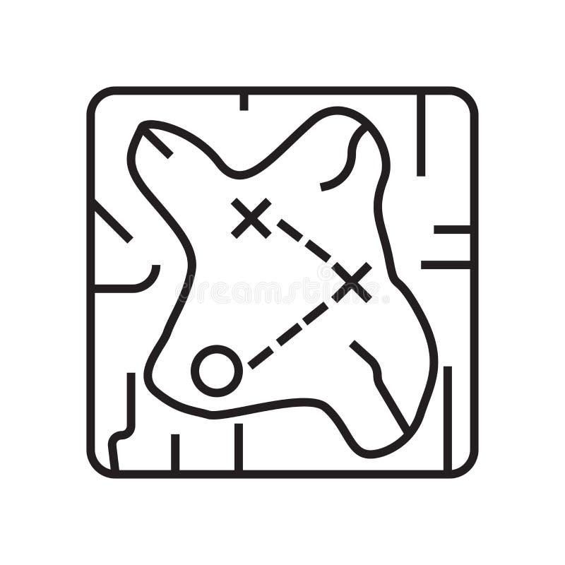 Signe et symbole de vecteur d'icône de carte de trésor d'isolement sur le backg blanc illustration de vecteur