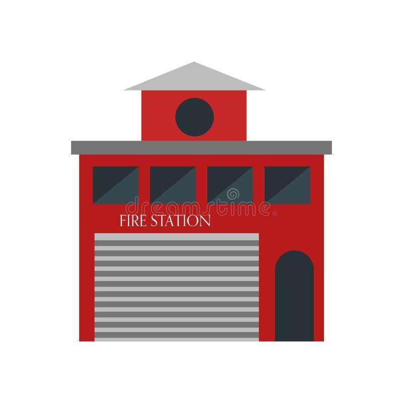 Signe et symbole de vecteur d'icône de caserne de pompiers d'isolement sur le fond blanc, concept de logo de caserne de pompiers illustration libre de droits