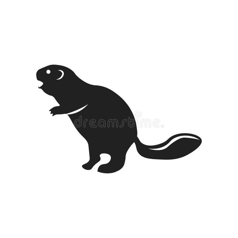 Signe et symbole de vecteur d'icône de castor d'isolement sur le fond blanc, concept de logo de castor illustration de vecteur