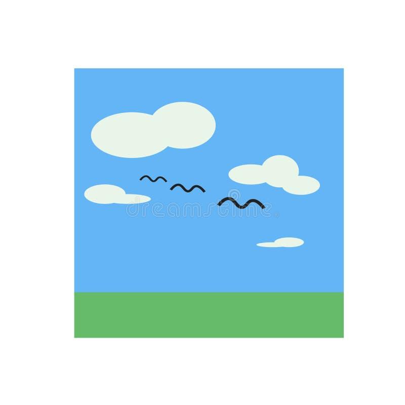 Signe et symbole de vecteur d'icône de ciel d'isolement sur le fond blanc, concept de logo de ciel illustration stock