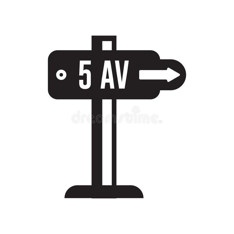 Signe et symbole de vecteur d'icône de Cinquième Avenue d'isolement sur le backg blanc illustration libre de droits