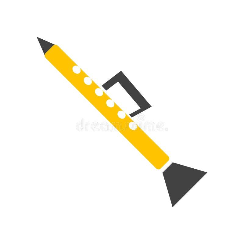 Signe et symbole de vecteur d'icône de clarinette d'isolement sur le backgroun blanc illustration libre de droits