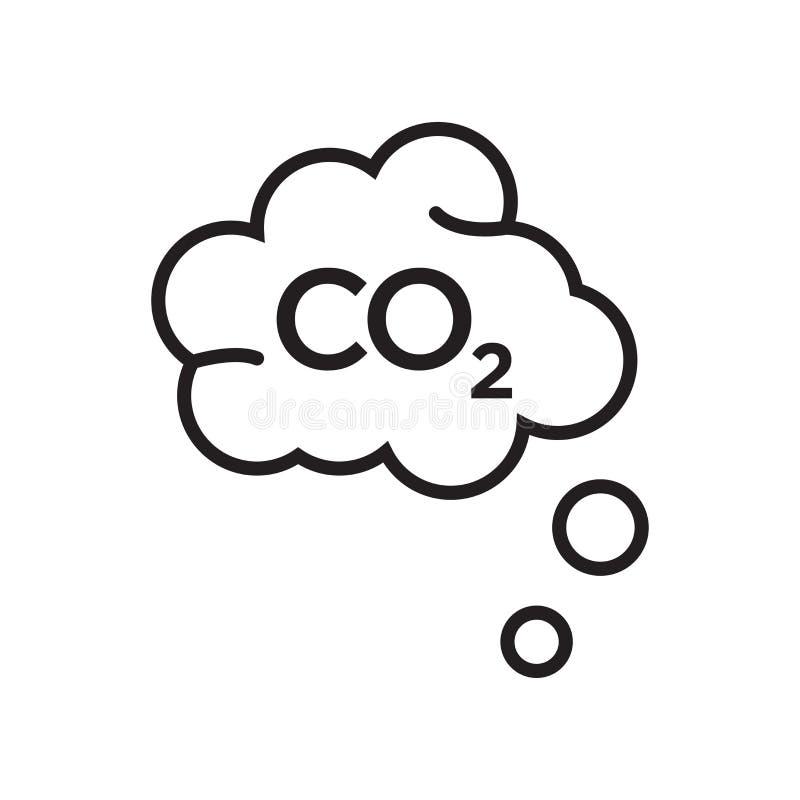 Signe et symbole de vecteur d'icône de CO2 d'isolement sur le fond blanc, Co illustration stock