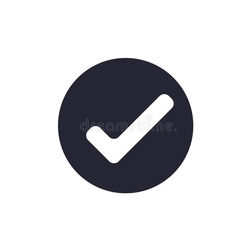 Signe et symbole de vecteur d'icône de coche d'isolement sur le fond blanc, concept de logo de coche illustration libre de droits