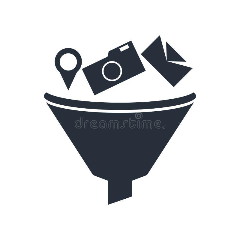 Signe et symbole de vecteur d'icône de collecte de données d'isolement sur le fond blanc, concept de logo de collecte de données illustration libre de droits