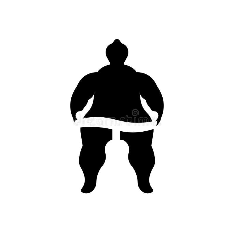 Signe et symbole de vecteur d'icône de combattant de sumo d'isolement sur le fond blanc, concept de logo de combattant de sumo illustration stock