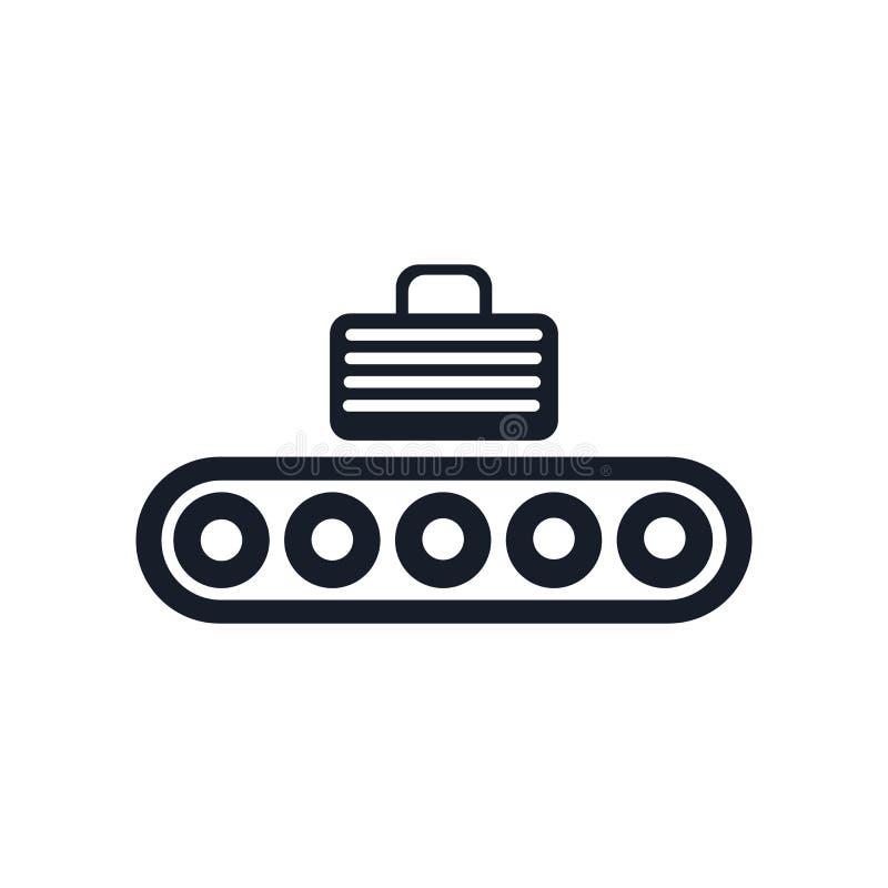 Signe et symbole de vecteur d'icône de convoyeur d'isolement sur le fond blanc, concept de logo de convoyeur illustration stock