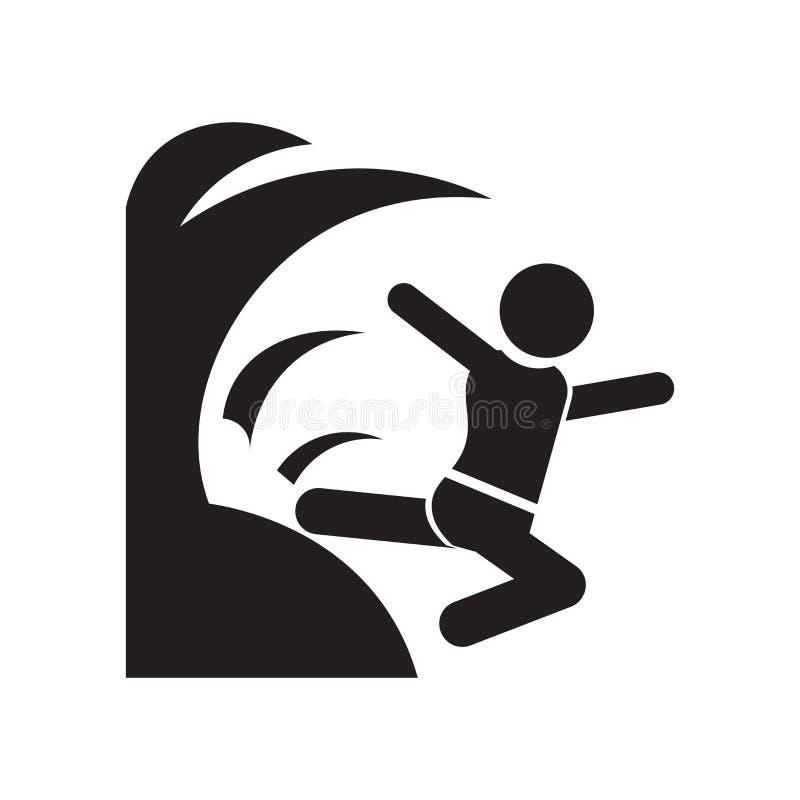 Signe et symbole de vecteur d'icône de danger de vagues d'isolement sur le fond blanc, concept de logo de danger de vagues illustration stock