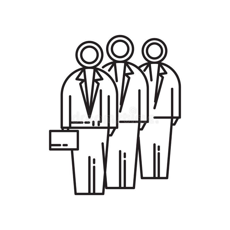 Signe et symbole de vecteur d'icône des employés d'isolement sur le fond blanc, concept de logo des employés illustration stock