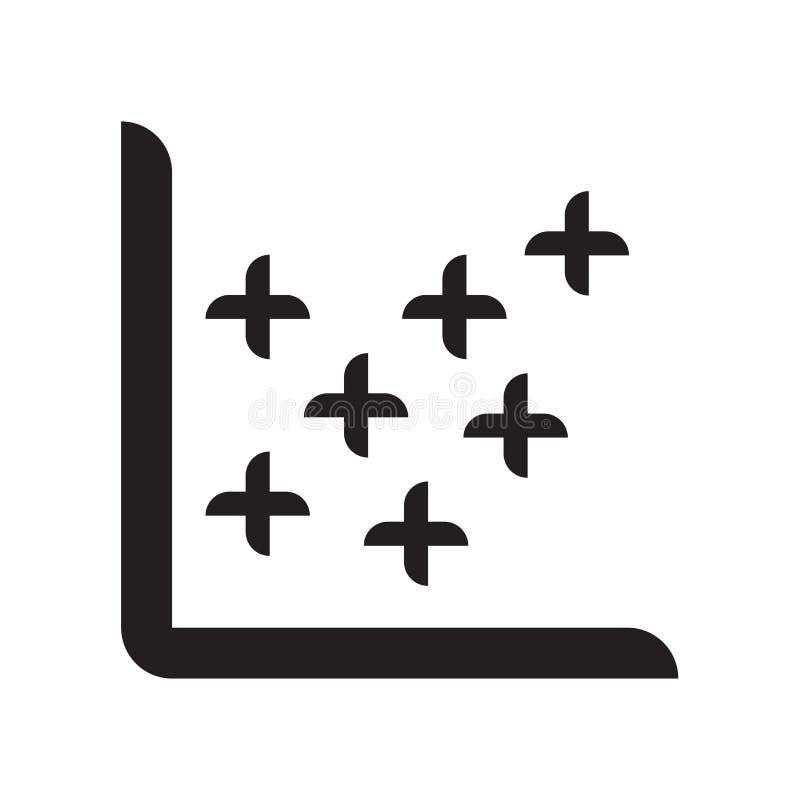 Signe et symbole de vecteur d'icône de diagramme de dispersion d'isolement sur le dos blanc illustration stock