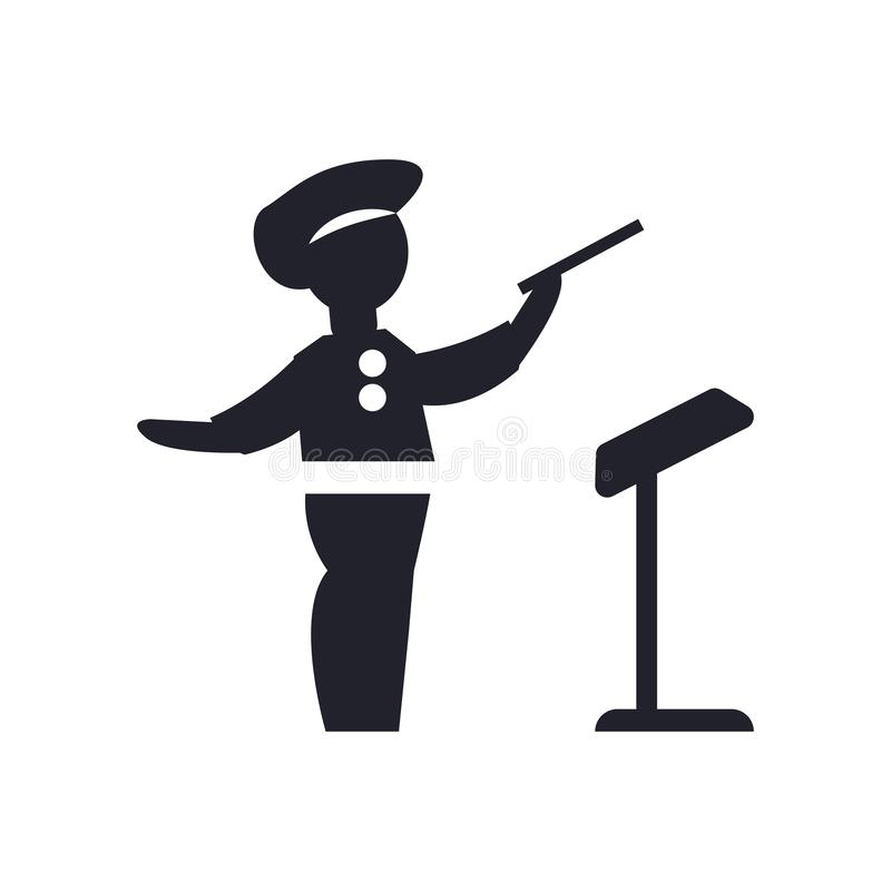 Signe et symbole de vecteur d'icône de directeur d'orchestre d'isolement sur le fond blanc, concept de logo de directeur d'orches illustration de vecteur