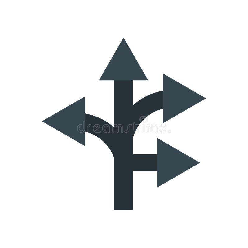 Signe et symbole de vecteur d'icône de direction d'isolement sur le fond blanc, concept de logo de direction illustration libre de droits