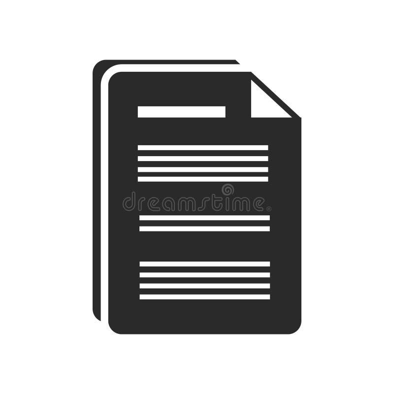 Signe et symbole de vecteur d'icône de document d'isolement sur le backgroun blanc illustration stock