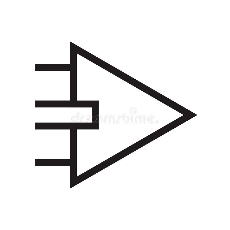 Signe et symbole de vecteur d'icône de flèche droite d'isolement sur le fond blanc, concept de logo de flèche droite illustration stock