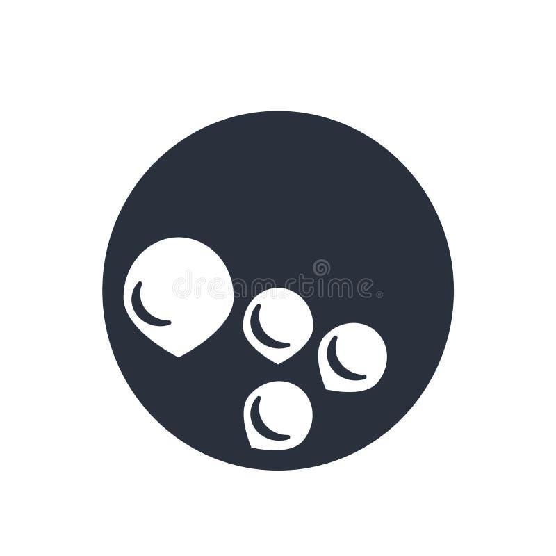 Signe et symbole de vecteur d'icône de globule sanguin d'isolement sur le fond blanc, concept de logo de globule sanguin illustration libre de droits