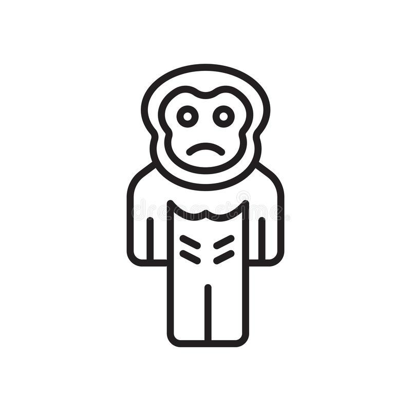 Signe et symbole de vecteur d'icône de gorille d'isolement sur le fond blanc illustration libre de droits