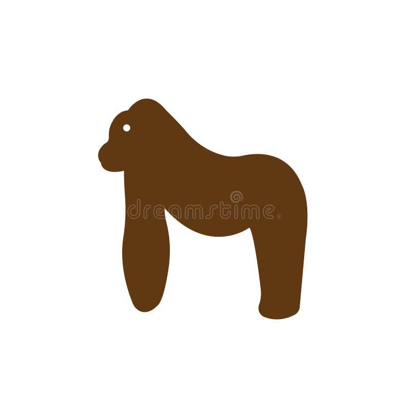 Signe et symbole de vecteur d'icône de gorille d'isolement sur le fond blanc illustration stock